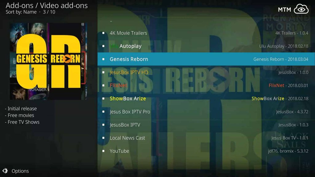 Choose Genesis Reborn to Install from Jesusbox Repo Video add-ons