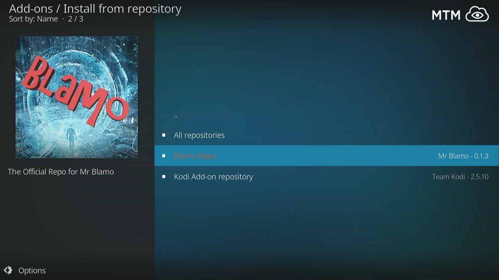 Choose the Blamo Repo to Install Aragon Live TV streaming Kodi addon
