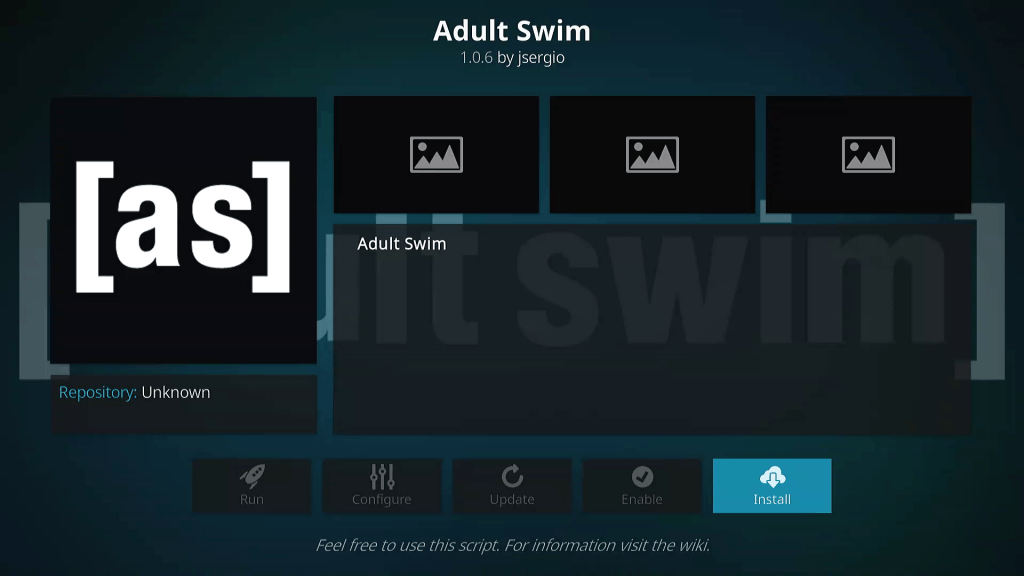 Click Install Button for Adult Swim KODI TV Addon Installation from Mr Blamo Repo