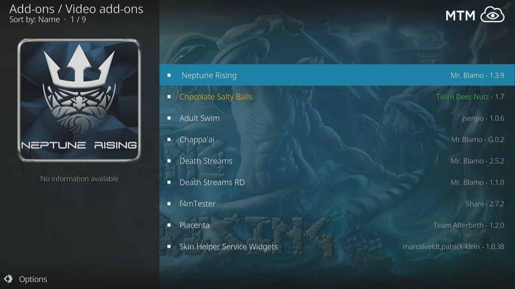 Click on Neptune Rising within MrBlamo Reborn Repo Video Add-ons