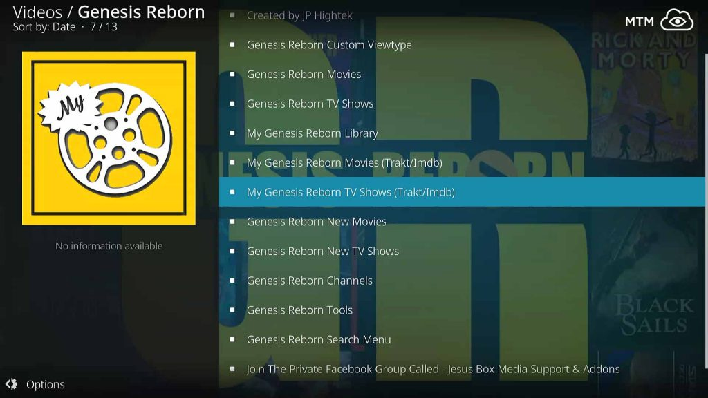 Genesis Reborn Kodi TV Addon Clean Navigation Categories