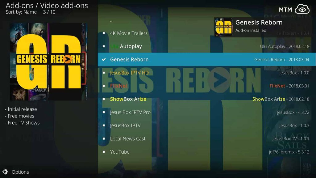 Genesis Reborn Kodi TV Addon Installation Success