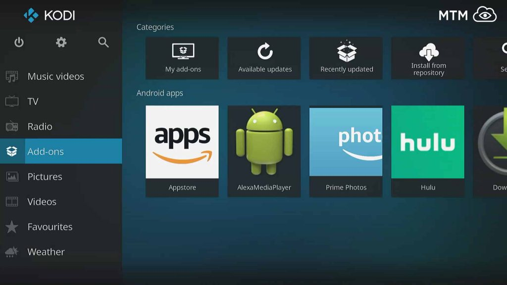 kodi main menu add-ons item to install mobdro iptv live tv streaming addon