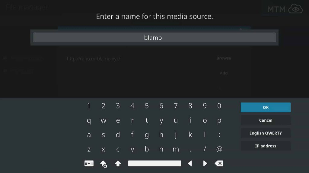 Name Kodi Source for Blamo Repo