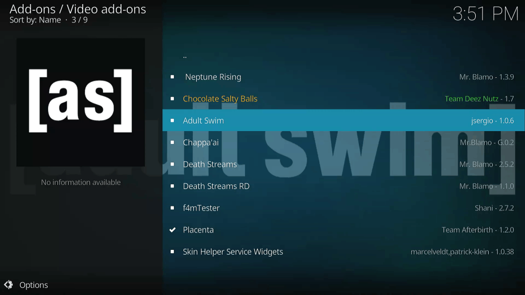 Select Adult Swim KODI TV Addon for Installation from Mr Blamo Repo Video add-ons