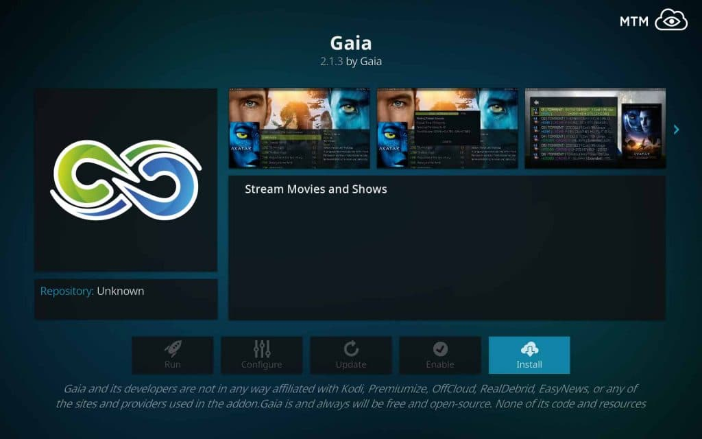 Push Install Button for Gaia Kodi TV Addon Bubbles fork Installation