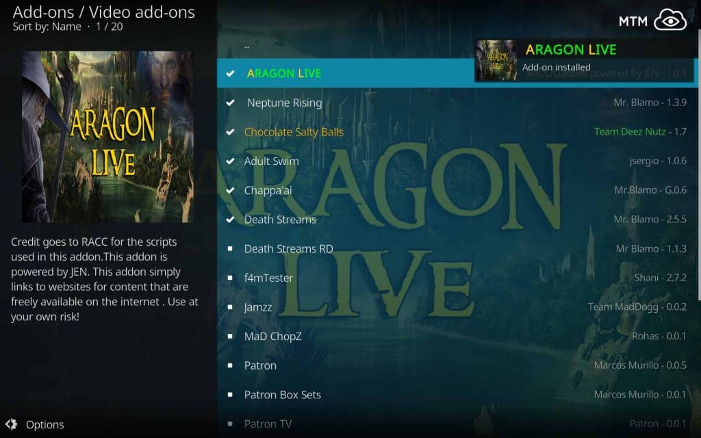 Aragon Live Kodi Free TV Streaming Video Addon Installed