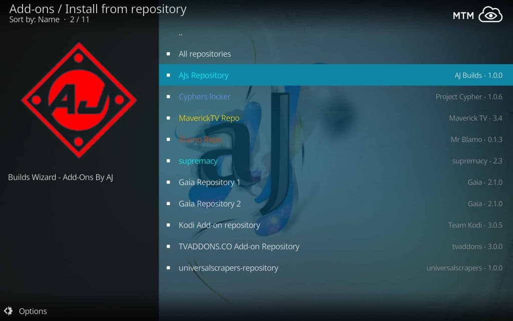Choose to Install from AJs Repository