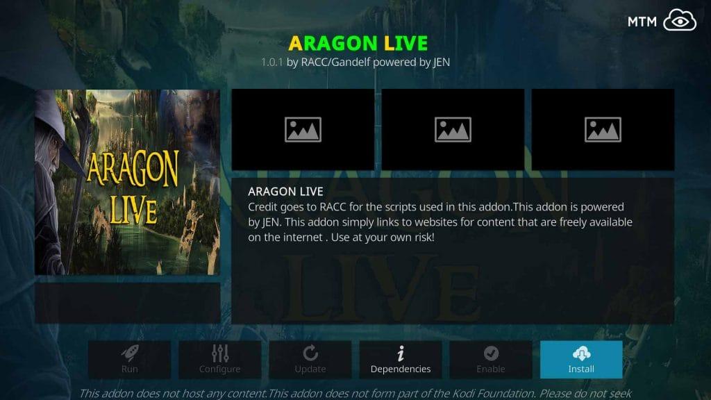 Install Aragon Live TV Kodi Addon