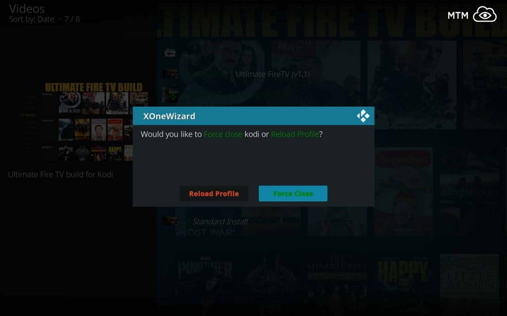 Allow XOne Wizard to Force Close Kodi 18 Leia to Finish Ultimate FireTV Install
