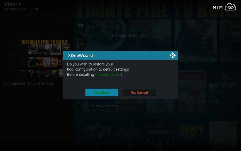 Allow XOne Wizard to Restore Kodi 18 to Default Settings