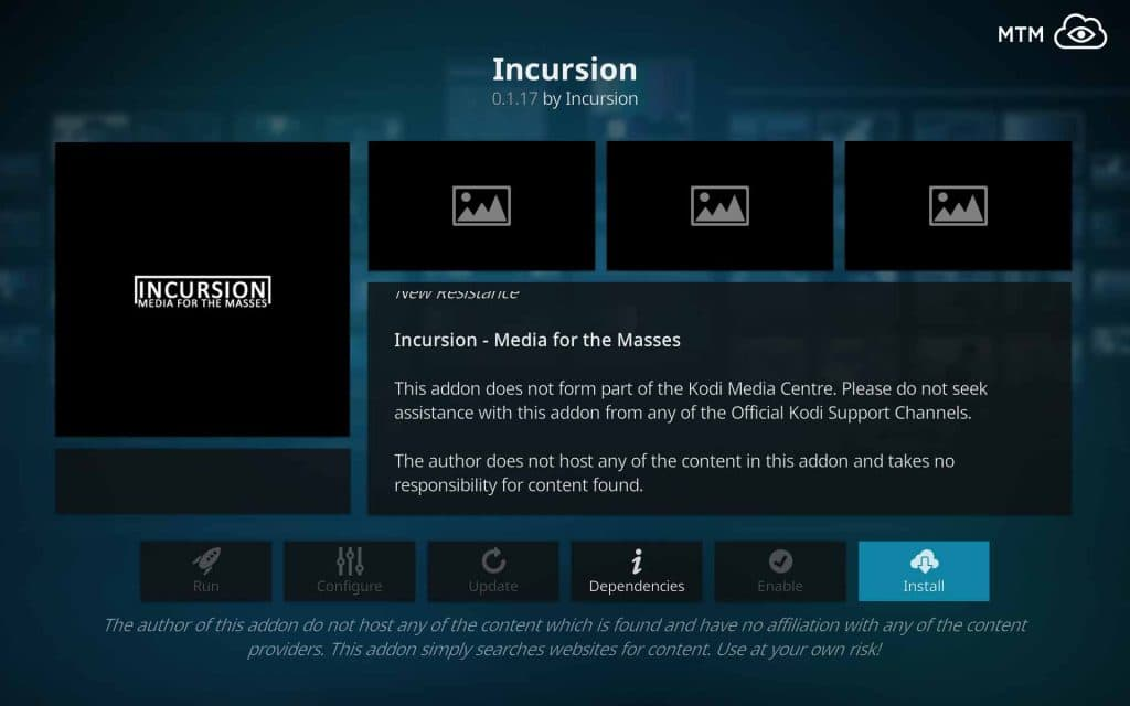 Click the Install Button & Incursion Installation Begins