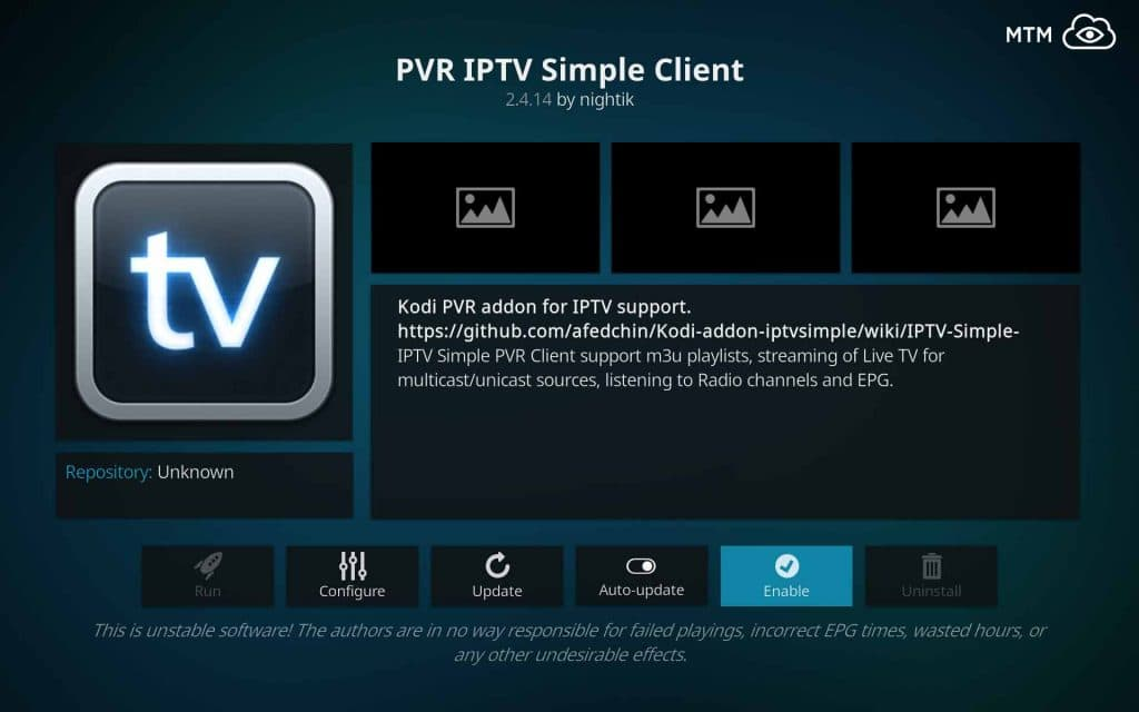 Enable Kodi PVR IPTV Simple Client