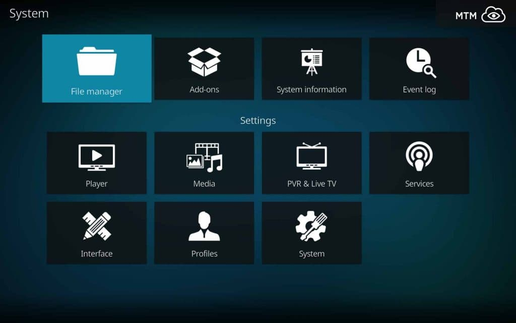 Kodi 18 Leia System File Manager Menu Item