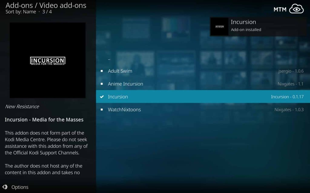 Kodi Exodus and Covenant Alternative Incursion Addon Installed