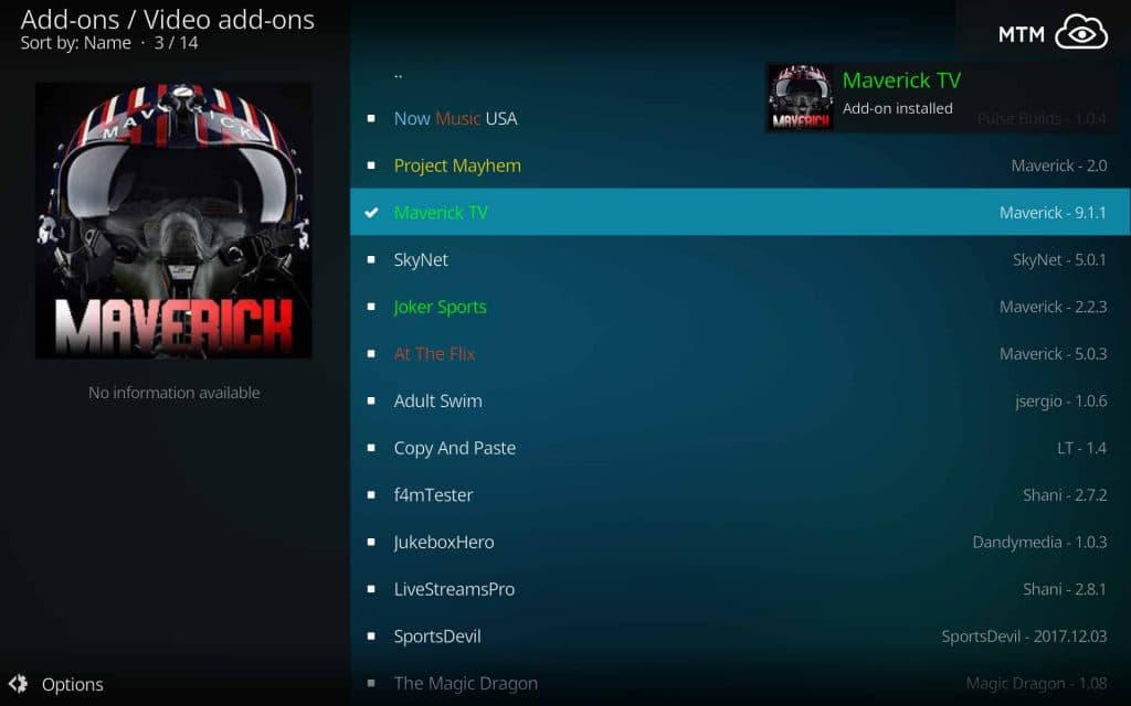 Maverick TV Add-on Installed Dialog