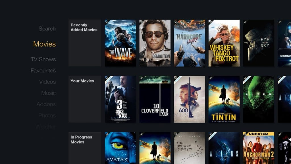 Streaming Movies Screen of Ultimate FireTV Kodi 18 Build for Leia from XOne Wizard in JesusBox Repo