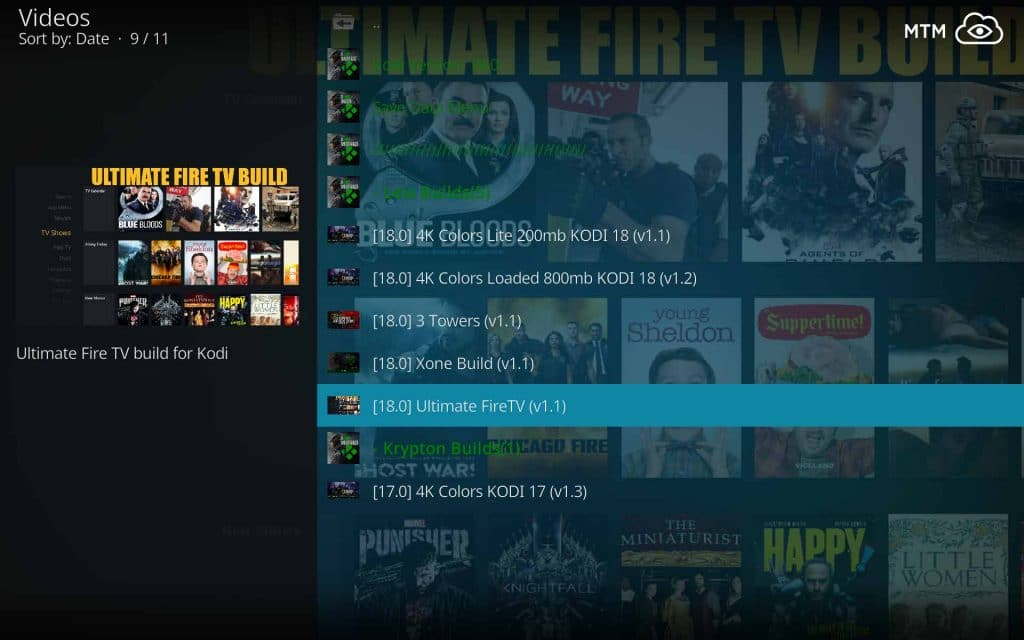 Select Ultimate Fire TV Build for Kodi 18 Leia from XOne Wizard