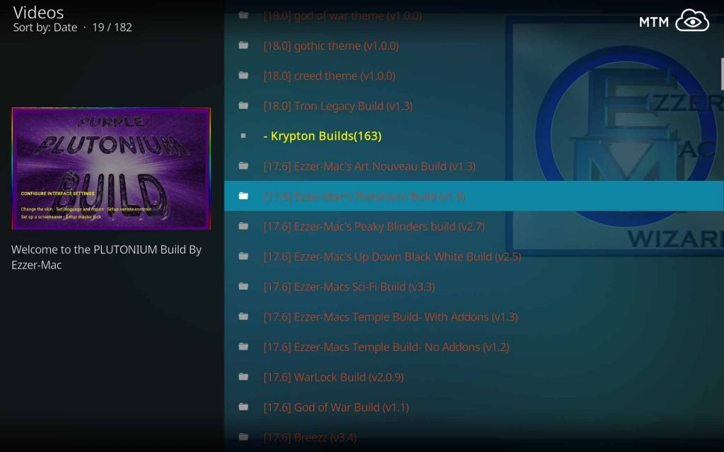 Choose Ezzer-Mac's Plutonium Build to Install on Kodi