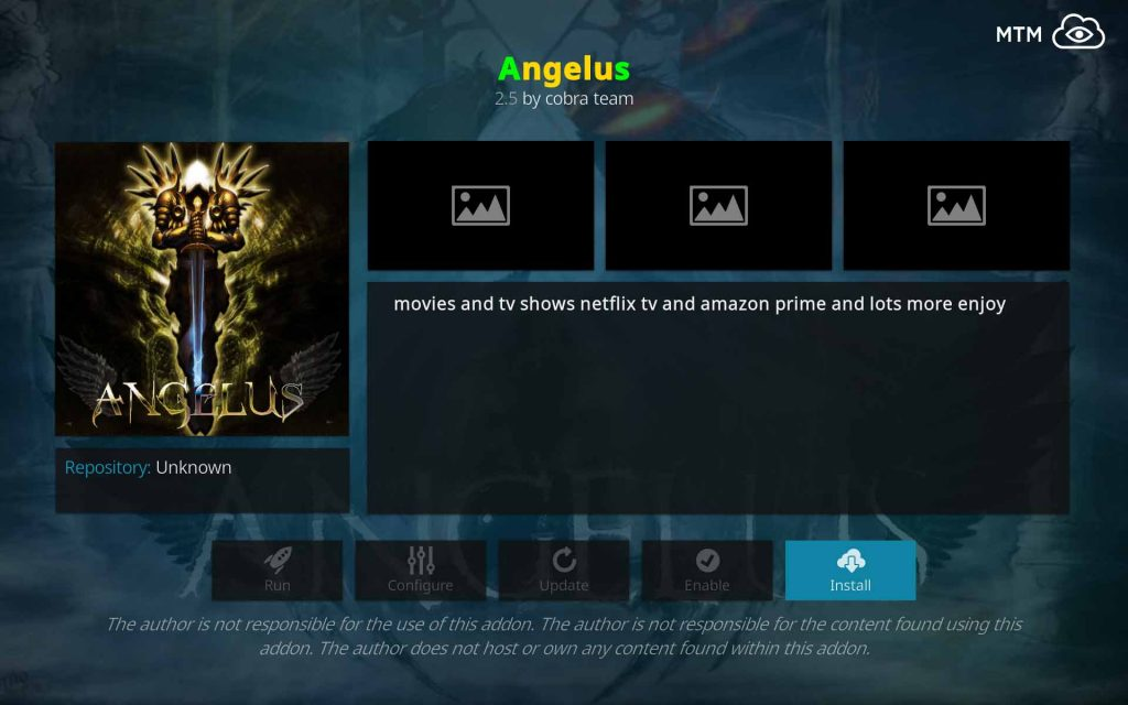 Click Install Button to Install Angelus on Kodi from Cobra Team