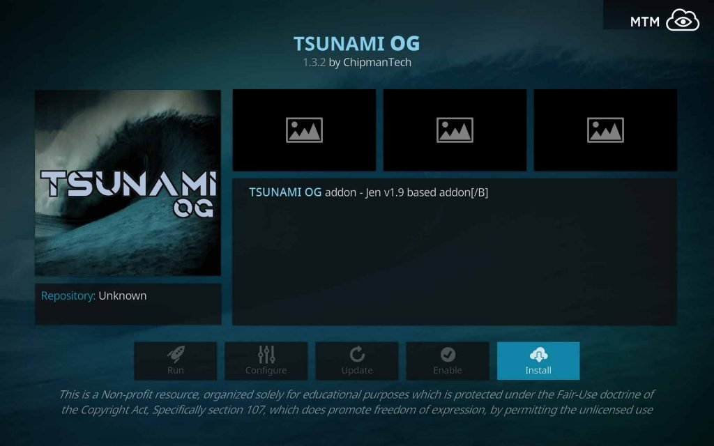 Click Install Button to Start Tsunami OG Installation