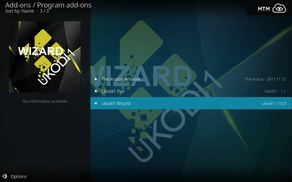 Click ukodi1 Wizard to Open Kodi Add-on Dialog