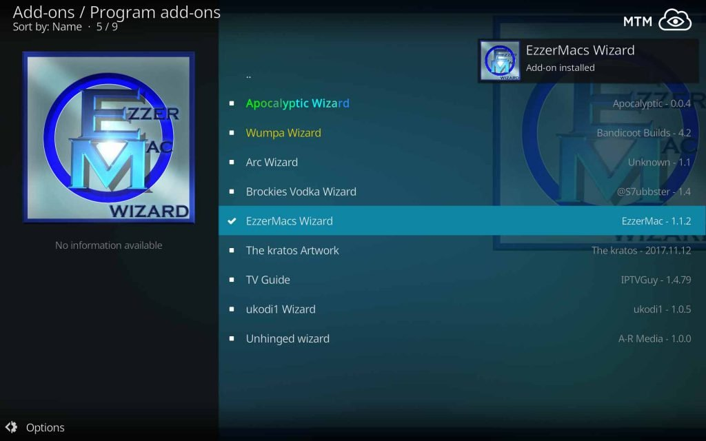 EzzerMacs Wizard Add-on Installed