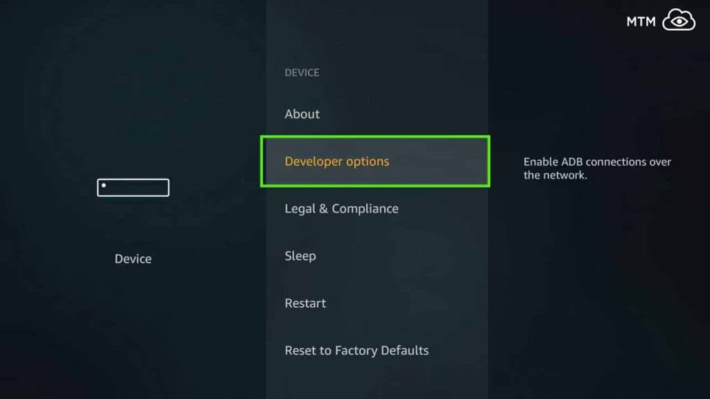 change fire tv developer options to install popcorn time apk on firestick