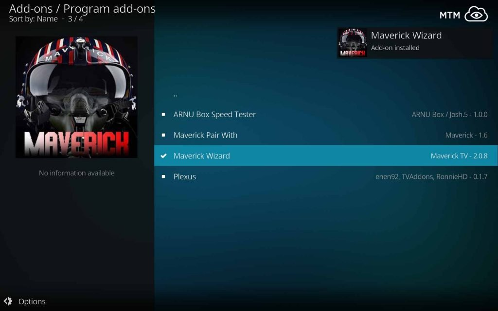 Maverick Wizard Add-on Installed