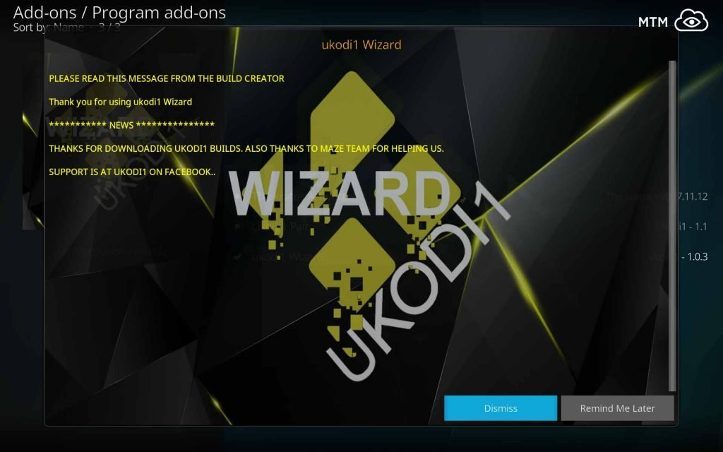 Read and Dismiss UKodi1 Wizard News Dialog