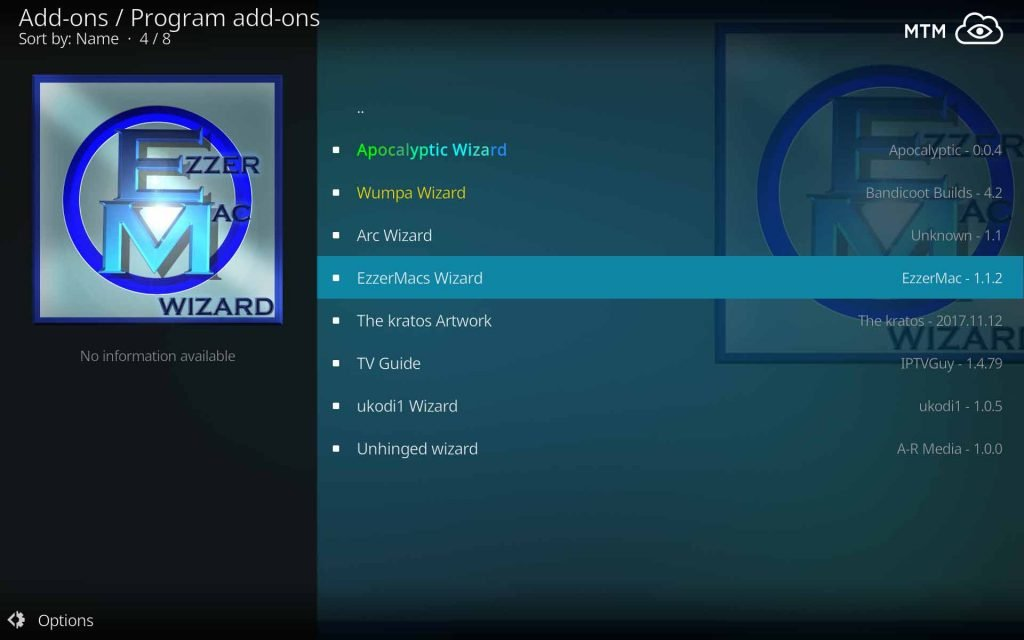 Select EzzerMacs Wizard Install on Kodi