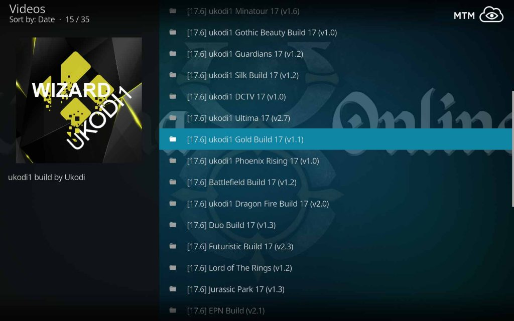 Select UKodi1 Gold Build to Install on Kodi 17.6 Krypton
