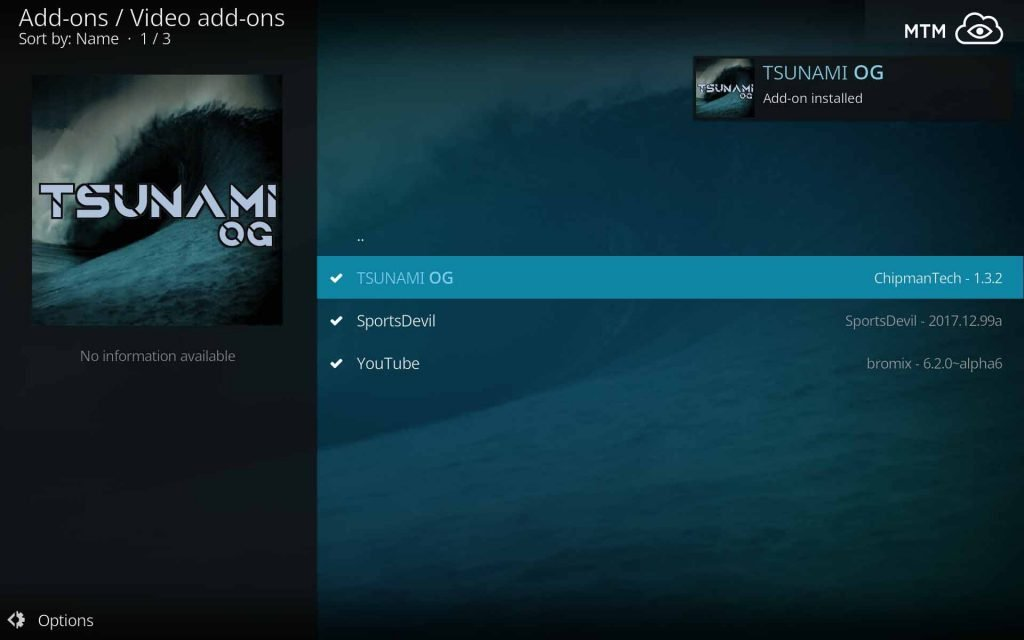 Tsunami OG Add-on Installed Dialog