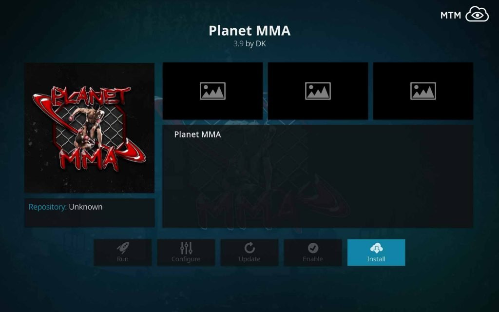 Click Install Button for Planet MMA UFC Fight Kodi Addon