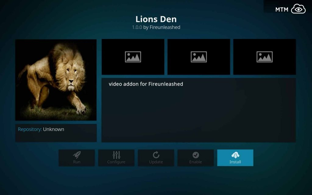Click to Install Lions Den FireUnleashed Kodi Video Addon