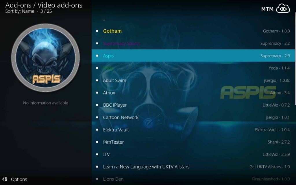 Select Aspis to Install from Supremacy Video Add-ons