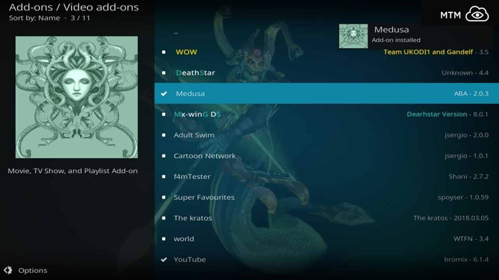 Medusa Addon Installed on Kodi
