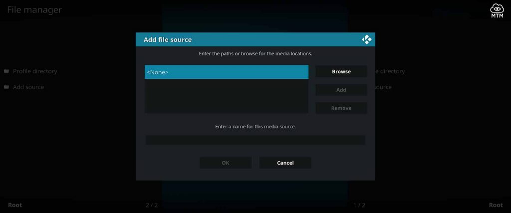 for custom kodi repo source location input click none