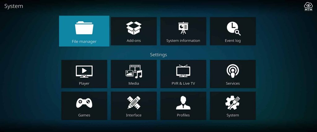 click kodi file manager tile