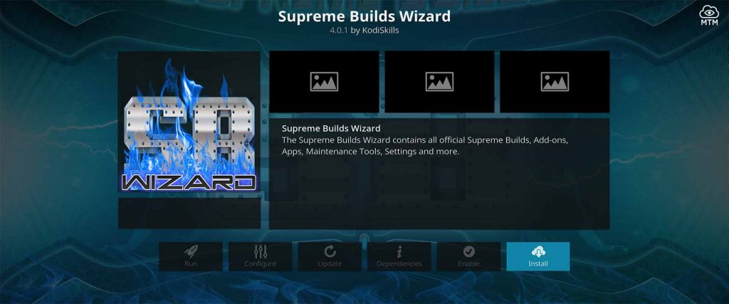 Click Install Button for Kodi Supreme Builds Wizard