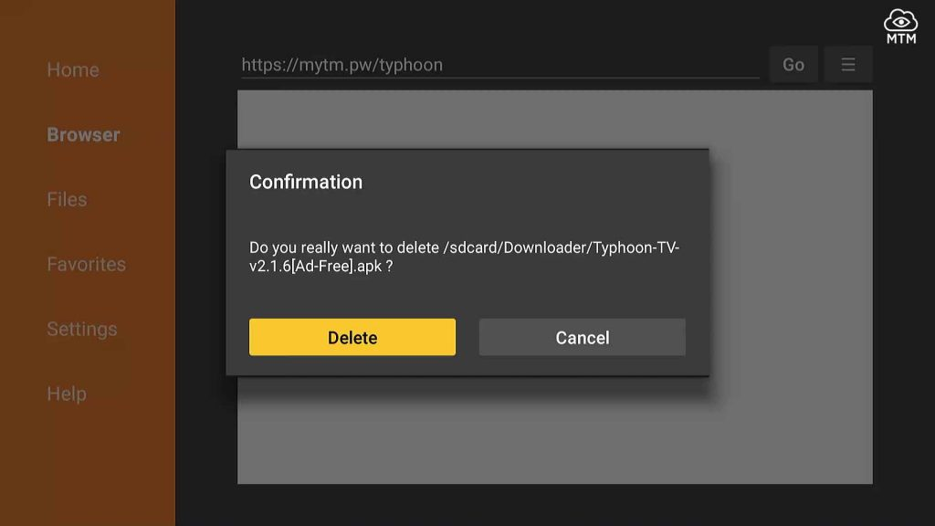 confirm delete typhoon tv installation file