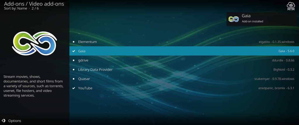 Kodi Gaia Bubbles Fork TV Addon Installed