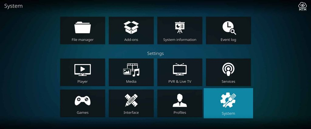 click to enter kodi 18 leia system settings