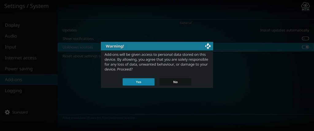 accept warning about allowing unknown sources in kodi