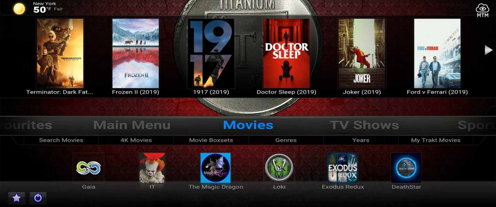 titanium kodi build from supreme builds wizard repo on firestick 4k widescreen tv