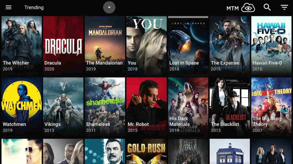 catmouse default homescreen shows trending tv series