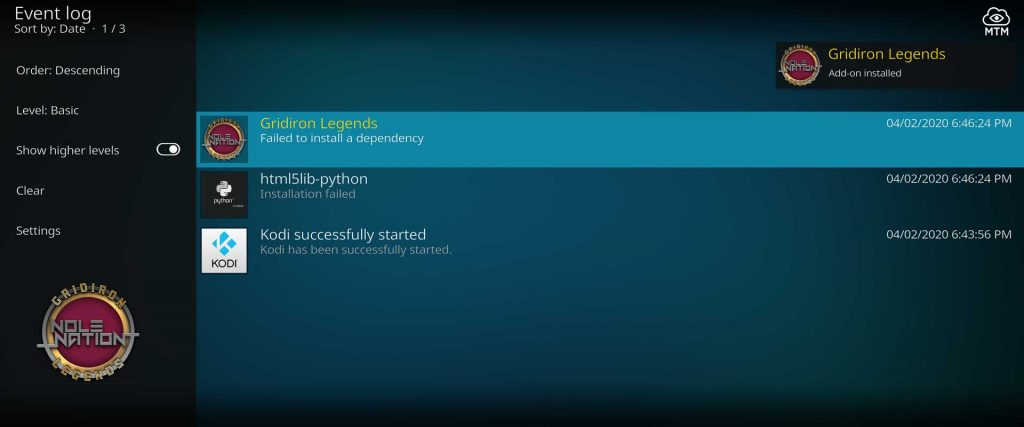after fix failed to install a dependency in kodi add-on installs
