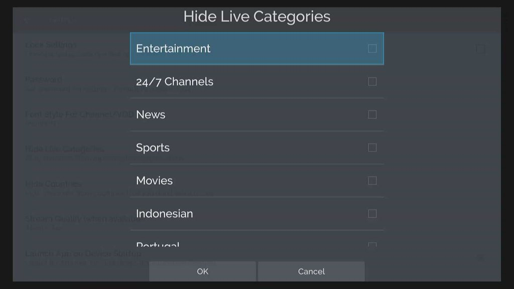 hide live net tv categories