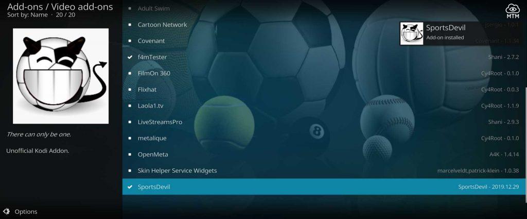 sportsdevil kodi addon installed on firestick 4k