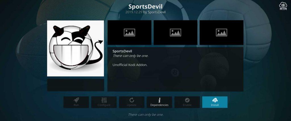 sportsdevil install dialog in repo
